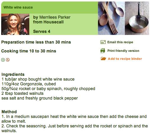 BBC Recipe for White Wine Sauce
