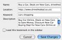 The New Bookmark properties window