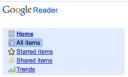 Google Reader Menu