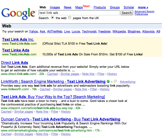 Google results for Text Link Ads
