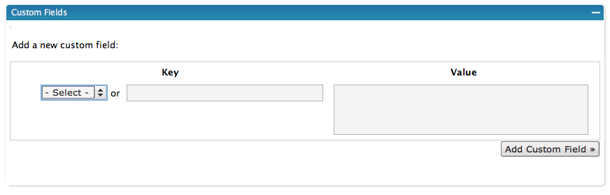 Wordpress Custom Field Options