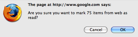 Google Reader Asking for Confirmation