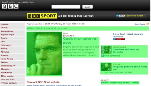 Overlay of the BBC Sport page highlighting content