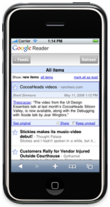 The iPhone version of Google Reader